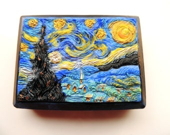 STARRY NIGHT, Van Gogh Soap, Artistic Soap, Hand Painted in Soap, Vincent van Gogh-Starry Night 1889