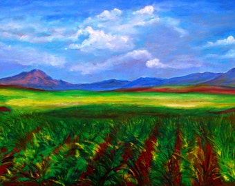 For Artist Exposed-Cloud Dance Over Sugar Cane-oil pastel
