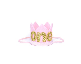 First Birthday Crown || Baby Girl Birthday Hat || Pink and Gold Cake Smash Crown || Six Month Birthday Crown || Pink + Gold