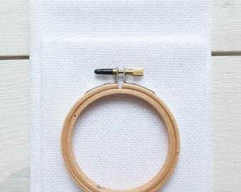 Metallic Cross Stitch Fabric - 14 count Aida Cloth | 100% Cotton Aida Fabric for Cross Stitch Embroidery - White Opalescent (14 ct)