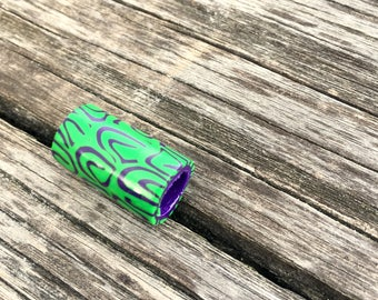 Dreadlock-Pearl Hole 8 mm handmade Dreadschmuck pattern Green-violet