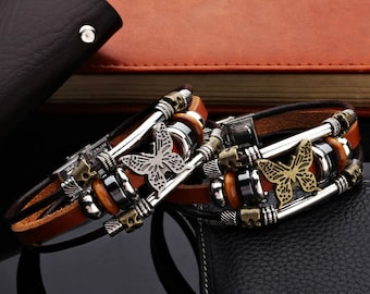 Butterfly Bracelets Hand Made Charm Leather Bracelets Bangles for Men or Women