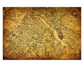 DUBAI Vintage Map 5E - Handmade Leather Journal / Sketchbook - Travel Art