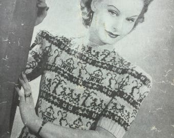 "knitting pattern Lady's jumper - original pattern, 1940s willow pattern jumper, Bestway, 34"""