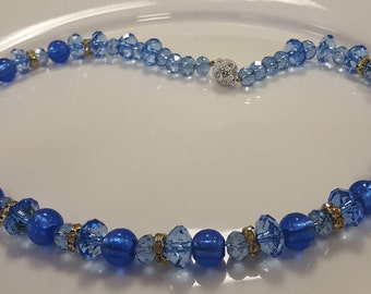 Blue Crystal Necklace with Magnetic Clasp