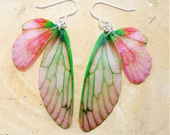 NEW Berry Ripening Fairy Wing Earrings. Medium sparkle faerie wings on Sterling silver ear wires. Magical faery fae jewellery