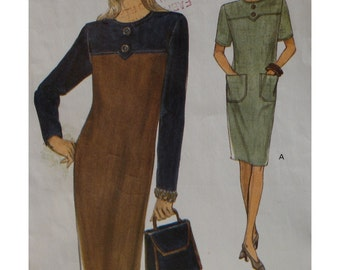 Loose Fitting Dress Pattern, Yoke, Pockets, Button Trim, Short Sleeves, Vogue No. 8713 UNCUT Size 14 16 18 OR  Size 20 22 24