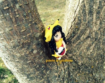 Pikachu chibi necklace/ discount/ clay/ kawaii doll/ fan art Pokèmon/ polymer clay/ handmade/ gift/ jewelry