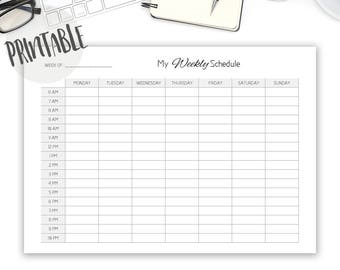 Weekly Schedule Printable, Class Schedule, Work Schedule Agenda, Weekly Planner, Weekly Planner Printable, Schedule Download
