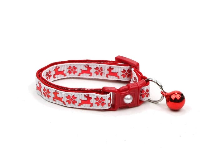 Christmas Cat Collar - Fair Isle Reindeer on White - Small Cat / Kitten Size or Large (Standard) Size Collar