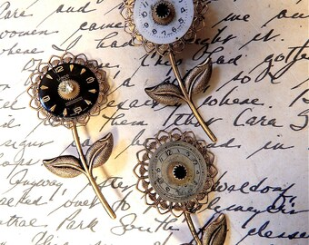 Steampunk Flower Pin, Steampunk Brooch, Steampunk Vintage, Steampunk Pin, Flower Brooch, Vintage Watch Parts, Steampunk Flower