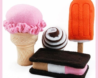 ICE CREAM - PDF Felt Food Pattern (Ice Cream Cone, Ice Cream, Ice Cream Sandwich, Creamsicle)