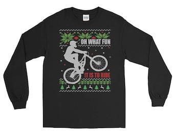 Mountain Bike Ugly Christmas Long Sleeve T-Shirt
