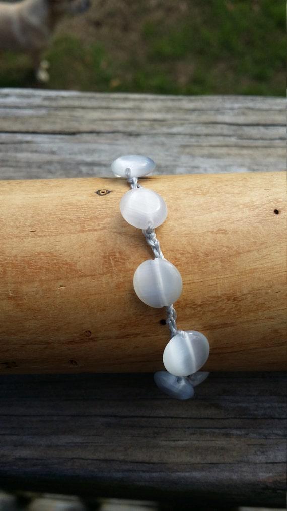 Crochet Beaded Bracelet /Bohemian bracelet/Yoga Bracelet/Beach Bracelet/Layering Bracelet/White Cat's Eye Bead Bracelet