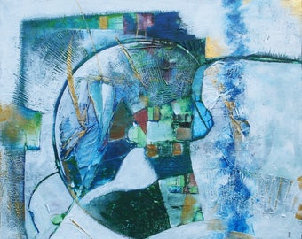 """""""Blue bule"""" acrylic abstract painting"""