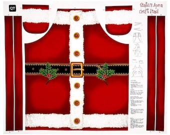 Santa's Apron Panel / Sew and Go Metallic Apron / DIY Holiday Apron Panel Fabric by Quilting Treasures / apron panel / Apron KIT