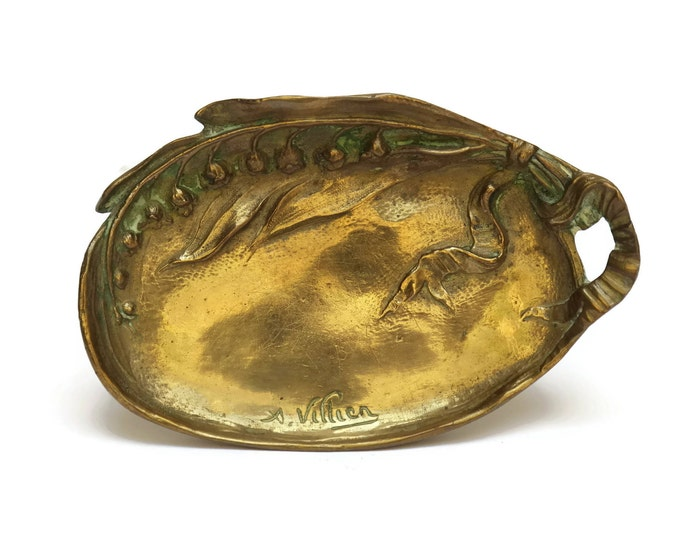 Antique Art Nouveau Bronze Ring Dish with Lily of The Valley Flowers by André Villien.