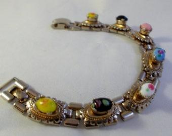 Vintage Elegant Victorian Revival Floral Art Glass Bracelet ~ Book Chain Link 1940s