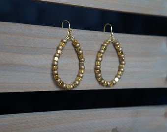 Gold Beaded Hoop Earrings, Beaded Hoop Earrings, Teardrop Beaded Earrings, Two-Tone Gold Hoops, Handmade Earrings