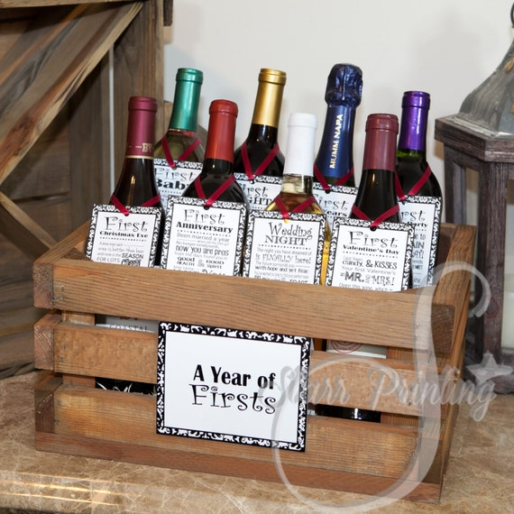 Idea Wedding Gift: Bridal Shower Wine Crate Gift Set With 8 Tags And Shower Card
