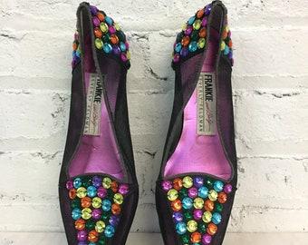 vintage 80s mesh jeweled flats / Beverly Feldman embellished studded loafers / rhinestone black shoes