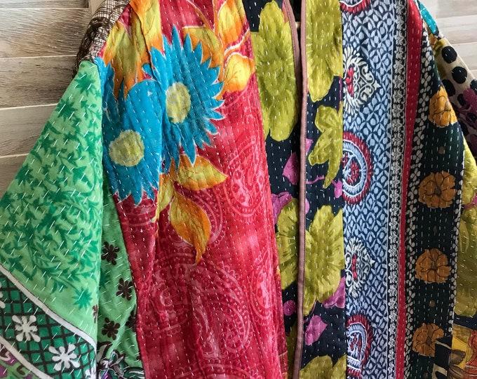 Plus size polkadots and floral kantha jacket