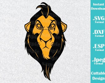 INSTANT DOWNLOAD SVG Disney Villains Inspired Scar from Lion King for Cutting Machines Svg, Esp, Dxf and Jpeg Format Cricut Silhouette