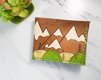 Mens wallet / Mountain wallet / gift for him / Nature wallet  / retro wallet / fathers day gift