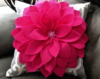 Pink Dahlia Decorative Pillow - Fuscia Pink Felt, Gray and Yellow Pattern Pillow - girls' bedroom decor
