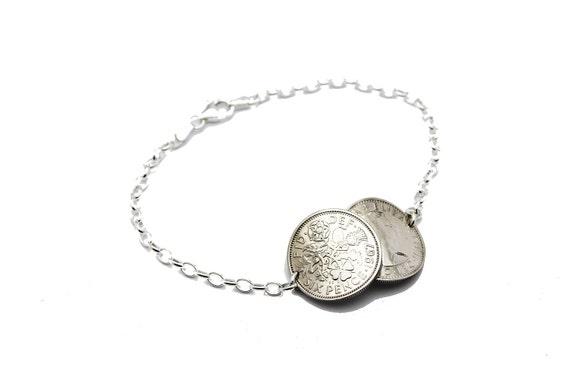 Double 1956 Lucky Sixpence Sterling Silver Bracelet qsXnt