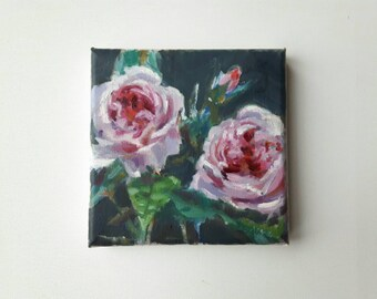 original acrylic rose painting, plant painting, small painting, botanical art, 6x6 painting, acrylics on canvas, small wall art