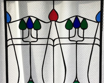 Vintage Art Nouveau stained glass window panel recreated for today