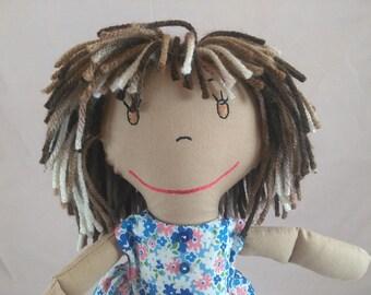 Custom Cloth Rag Doll, African American Rag Dolls, Embroidered Face, Personalized Rag Dolls, Shower gift, Plush Doll, Stuffed Doll