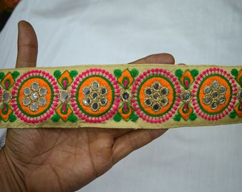 Indian Laces Embroidered Trim Decorative Sari Border fabric trims and embellishments Sewing Crafting Trim By 2 Yard Trimmings