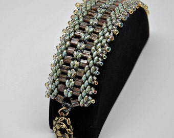 Green and Amber Caterpillar Bracelet with Brass Flower Clasp