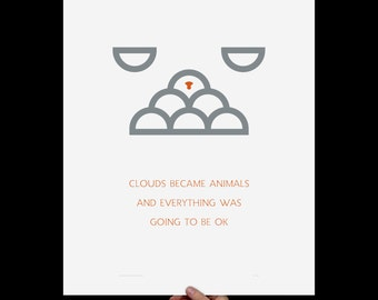 Art Print Clouds & Animals, Screenprint, Print, Poster, Nursery Art, Inspirational, Minimalist, Kids Room, Typography Print, Orange, Grey