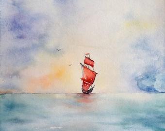 Aquarell, water, Wasser, blue, blau, Aquarellbild, sea, see, Segelboot,Himmel, Sky