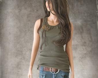 Tank top olive/applique yoke crew/Sleeveless knit shirt