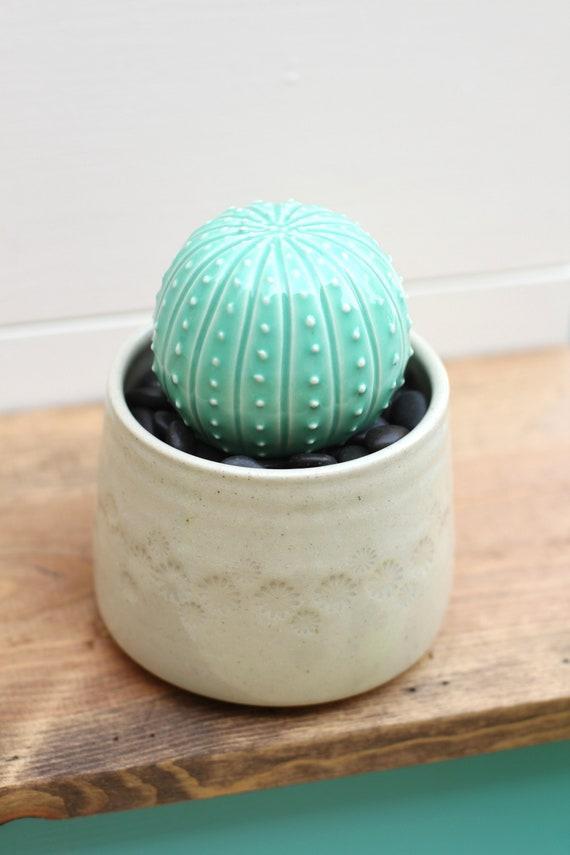 ceramic cactus // porcelain cactus and pot // cactus decor // cactus plant  // cactus pot