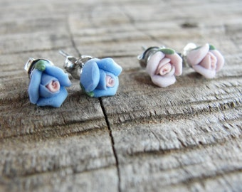 Porcelain Earrings Floral Stud post Earrings