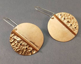 Hammered Folded Copper Circle Earrings