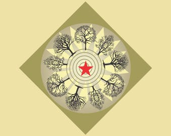 Altar Cloth or Tarot Cloth - Ring of Winter Trees in Brown  - Pagan, Wicca - Designed by Wendy Wilson of Magic in Your Living Room