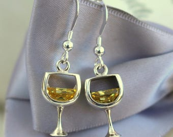 White Wine earrings with Light Topaz CZ accents All Sterling Silver
