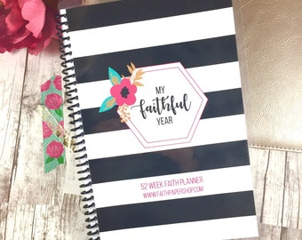 Mothers Day Gift, Weekly Planner, Daily Devotional, Christian Gift, Prayer, Gratitude, Bible Journaling, Bible Verse, Scripture.  Stripe