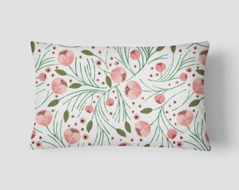"""Winter Floral // Decorative Pillow Cover 12""""x18"""" // Lumbar Pillow // Rectangular Throw Pillow"""
