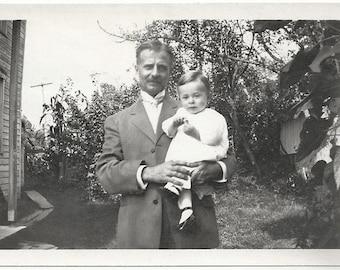 Old Photo Man Holding Boy 1910s Photograph snapshot vintage