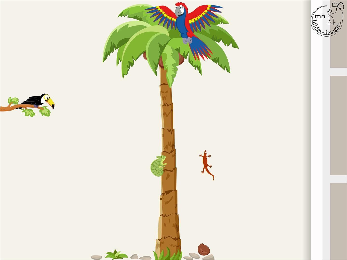 Wandtattoo Palme mit Papagei Kinderzimmer Kinder