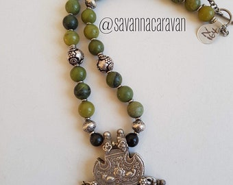 Olive jade necklace with silver beads and Rajasthan silver pendant N164