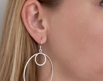 Sterling Silver Hoop Earrings, Silver Hoops, Large Silver Hoops, Double Silver Hoops, Sterling Silver Earrings, Silver Jewelry