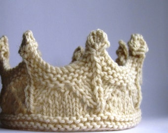 Crown NATURAL Cream Prince Princess Headband Lace knit - Many sizes